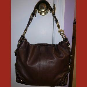 Brown Coach Leather Boho Shoulder Bag